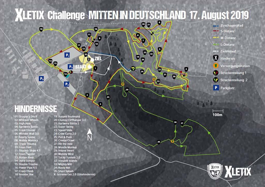 Streckenplan - XLETIX - Mitten in Deutschland 2019